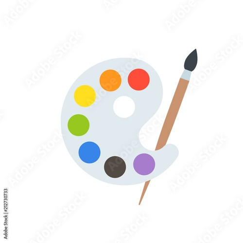 Paint palette and paint brush,  art equipment Fototapeta