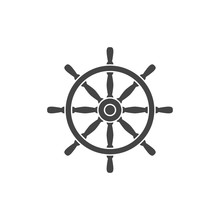Nautical Helm Flat Vector Icon, Silhouette