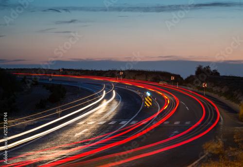 Keuken foto achterwand Nacht snelweg Llight trails on highway curve at night