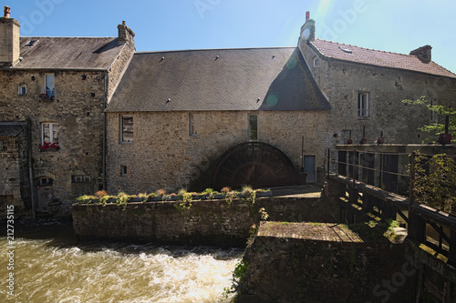 Water mill and Aure River in the old city in Bayeux. Calvados department of Normandy, France