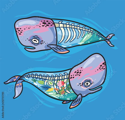 Photo  Floral anatomy whales in cartoon style. Vector illustration