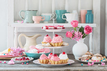 Pink Cakes On Plate On White B...