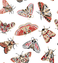 Cute Butterflies Seamless Pattern In Retro Style. Beautiful Craft And Red Moths. Vintage Background. Wallpaper.