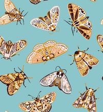Cute Butterflies Seamless Pattern In Retro Style.