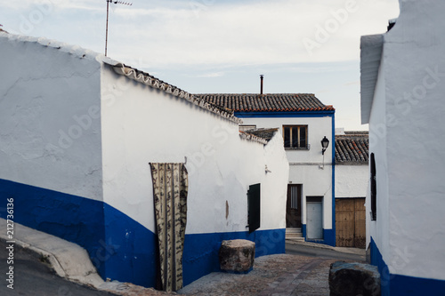 Loney street decorated with traditional stile in Campo de Criptana village, Spain