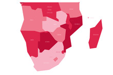 Political Map Of Southern Africa Region. Simlified Schematic Vector Map In Shades Of Pink.