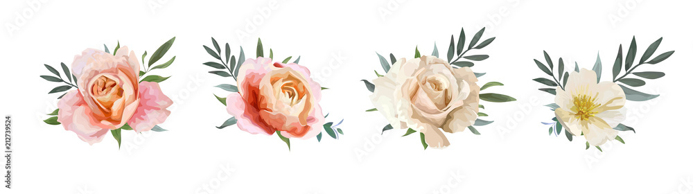 Fototapety, obrazy: Vector floral bouquet design: garden pink peach, creamy, pale orange Rose, yellow white Magnolia flower, Eucalyptus, olive branches greenery, green leaves. Wedding, invite card Watercolor elements set