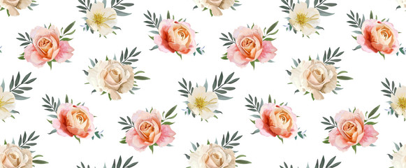 Panel Szklany Romantyczny Vector floral seamless pattern, backgorund design: garden pink peach, creamy, orange Rose, yellow white Magnolia flower, Eucalyptus, olive branches, green leaves. Watercolor elegant, cute illustration