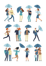 People Holding Umbrella, Walki...