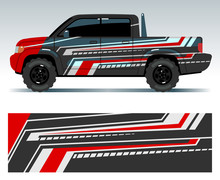Racing Car Design. Vehicle Wrap Vinyl Graphics With Stripes Vector Illustration