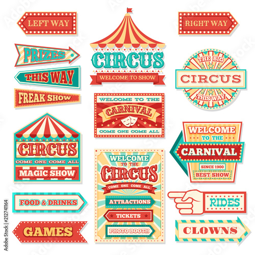 Fotografie, Obraz Old carnival circus banners and carnival labels vector set