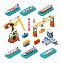 Isometric 3d Ships, Cranes, Se...