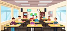 Pupils Study In Classroom Interior. Pupils In School Lesson Vector Concept