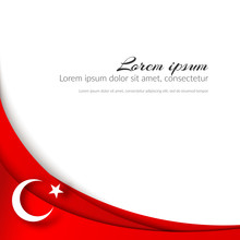 A Moon With A Star On A Background Of Wavy Curved Red Ribbons Lines Brochure With The Theme Of The Turkish Flag On The National Holidays Of Turkey Patriotic Background With Symbols Turkey Flag Vector