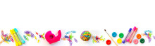Panorama Of Colorful School Supplies  Isolated On White Background With Copy Space. Back To School Web Banner.
