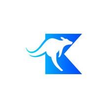 K Logo For Kangaroo, K   Kangaroo Logo Design Template