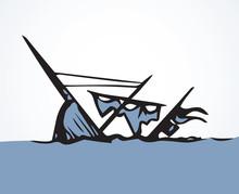 Sunken Ship. Vector Drawing