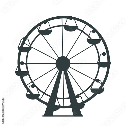 Black Silhouette of Ferris Wheel with Lots of Cabs Canvas-taulu