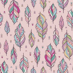 Fototapeta Boho Vector seamless pattern with ethnic feathers. Colorful ethnic background.