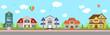 Haus Häuser mit Straße Häuserzeile Häuserreihe