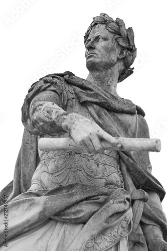 Poster Historisch geb. Roman emperor Julius Caesar statue isolated over white background