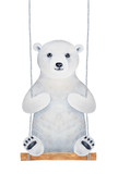 Cute polar bear cub character sitting on wooden swing seat. Fluffy, soft, romantic. Hand drawn watercolour graphic painting on white background. Childhood illustration for design, fun and decoration. - 212747797