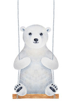 Cute Polar Bear Cub Character Sitting On Wooden Swing Seat. Fluffy, Soft, Romantic. Hand Drawn Watercolour Graphic Painting On White Background. Childhood Illustration For Design, Fun And Decoration.