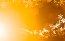 Illustration Of A Orange, Gold, Yellow And White Christmas Snowflake Pattern, Textured Abstract Background.