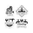 Monochrome vector emblems for plumbing and home renovation services. Logos with buildings, working instruments and water taps