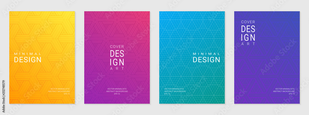 Fototapeta Vector set of cover design template with minimal geometric patterns, modern different color gradient.