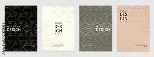 Photo Vector set of cover design template with minimal golden geometric patterns