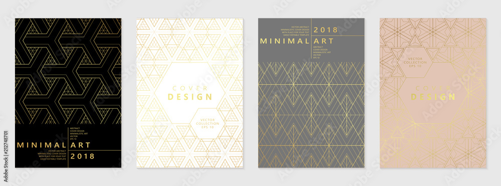 Fototapeta Vector set of cover design template with minimal golden geometric patterns.