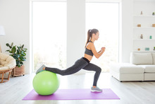 Trainer Vitality Wellness Wellbeing Lifestyle Daydream Instructor Concept. Profile Full Length Size Photo Portrait Of Beautiful Strong Sporty Sportive With Ponytail Hair Doing Squat Using Fitness Ball
