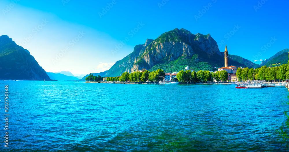 Fototapeta Lecco town, Como Lake panoramic landscape. Italy, Europe.