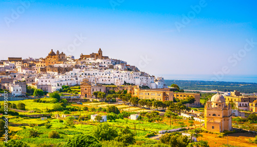 Deurstickers Europa Ostuni white town skyline and church, Brindisi, Apulia, Italy.