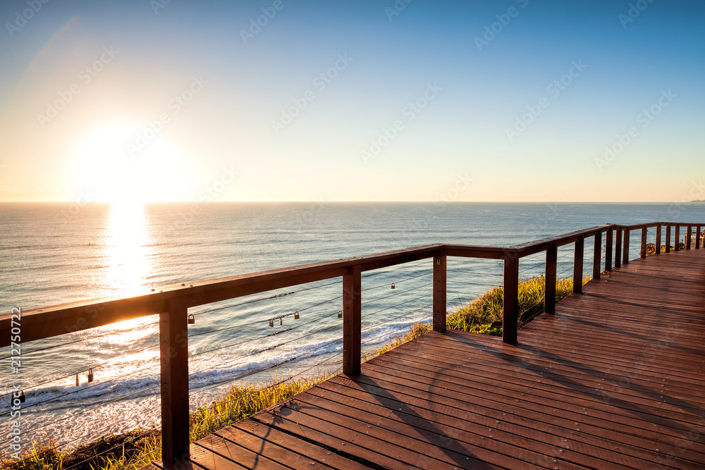 Fototapety, obrazy: Sunrise with clear sky from North Burleigh Lookout, Gold Coast Australia