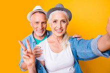 Friendship Happiness Emotion Lifestyle Care Trust Support Video-call Concept. Close Up Photo Portrait Of Funky Cute Careless People Taking Making Picture On Smartphone Hand Isolated Bright Background