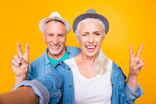 Online Connection Concept. We Are Still Young! Feel Good Look Nice And Glad! Close Up Photo Portrait Of Funny Funky With Toothy Smile Granny Granddad Making Taking Picture Isolated Bright Background