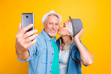 Modern Device Gadget In Hand Internet Connection Instagram Concept. Close Up Photo Portrait Of Romantic Cute Lovely Nice Glad Beautiful Lady Giving Kiss To Gentleman Isolated On Vivid Background