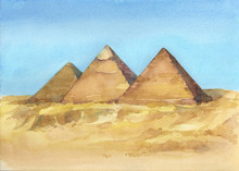 Watercolor Hand Drawn Illustration Of Egyptian Pyramids In Giza.