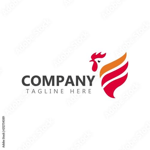 Fotomural Chicken Company Logo Vector Template Design Illustration