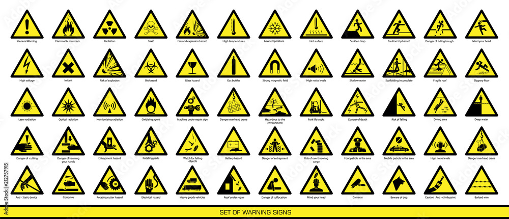 Fototapety, obrazy: Collection of warning signs. Set of safety signs. Caution signs. Signs of danger and alerts.