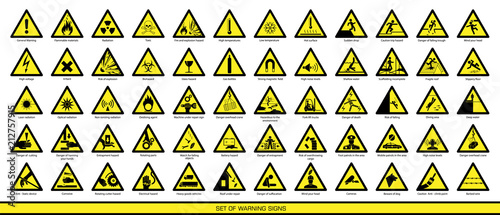 Obraz Collection of warning signs. Set of safety signs. Caution signs. Signs of danger and alerts. - fototapety do salonu
