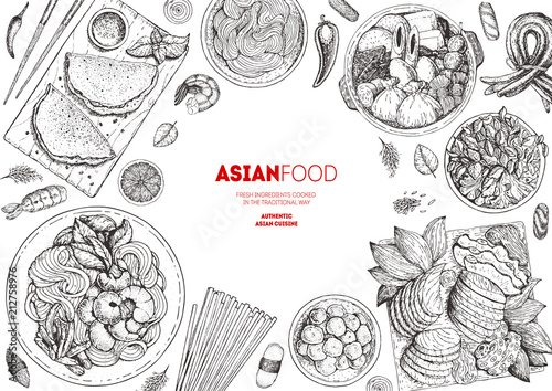 Asian Cuisine Sketch Collection Hand Drawn Vector Il Ration Food Menu Design Template Engraved Elements Asian Food Set