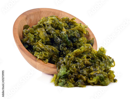 Seaweed in the Wood Cup isolated on white background.