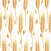Seamless Pattern With Ears Of Wheat. Realistic Bakery Background. Autumn Harvest. Vector Background For Bakery Package, Bread Products.