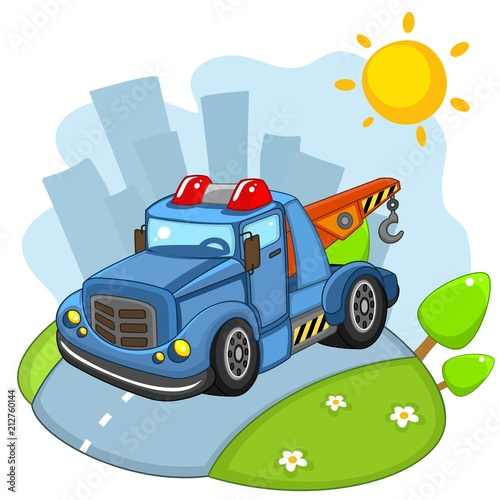 Staande foto Cartoon cars A large cargo building blue car with large wheels and headlights and a siren rides on the road in the city.