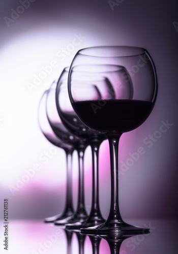Deurstickers Bar Glasses of red wine.