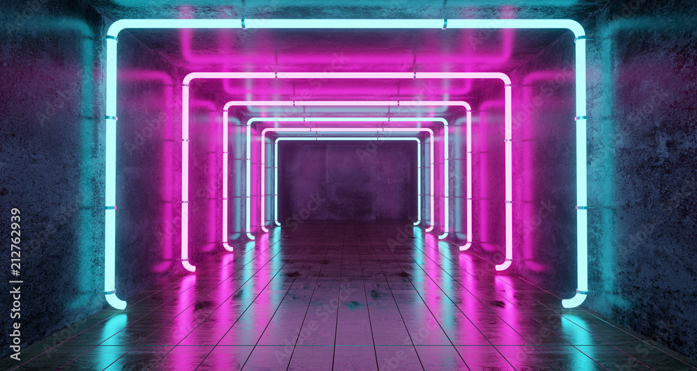 Fototapety, obrazy: Abstract Futuristic Sci Fi Concrete Room With Different Glowing Neon Lights And Reflections  Space For Text 3d Rendering