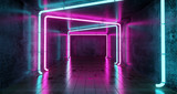 Fototapeta Perspektywa 3d - Abstract Futuristic Sci Fi Concrete Room With Different Glowing Neon Lights And Reflections  Space For Text 3d Rendering